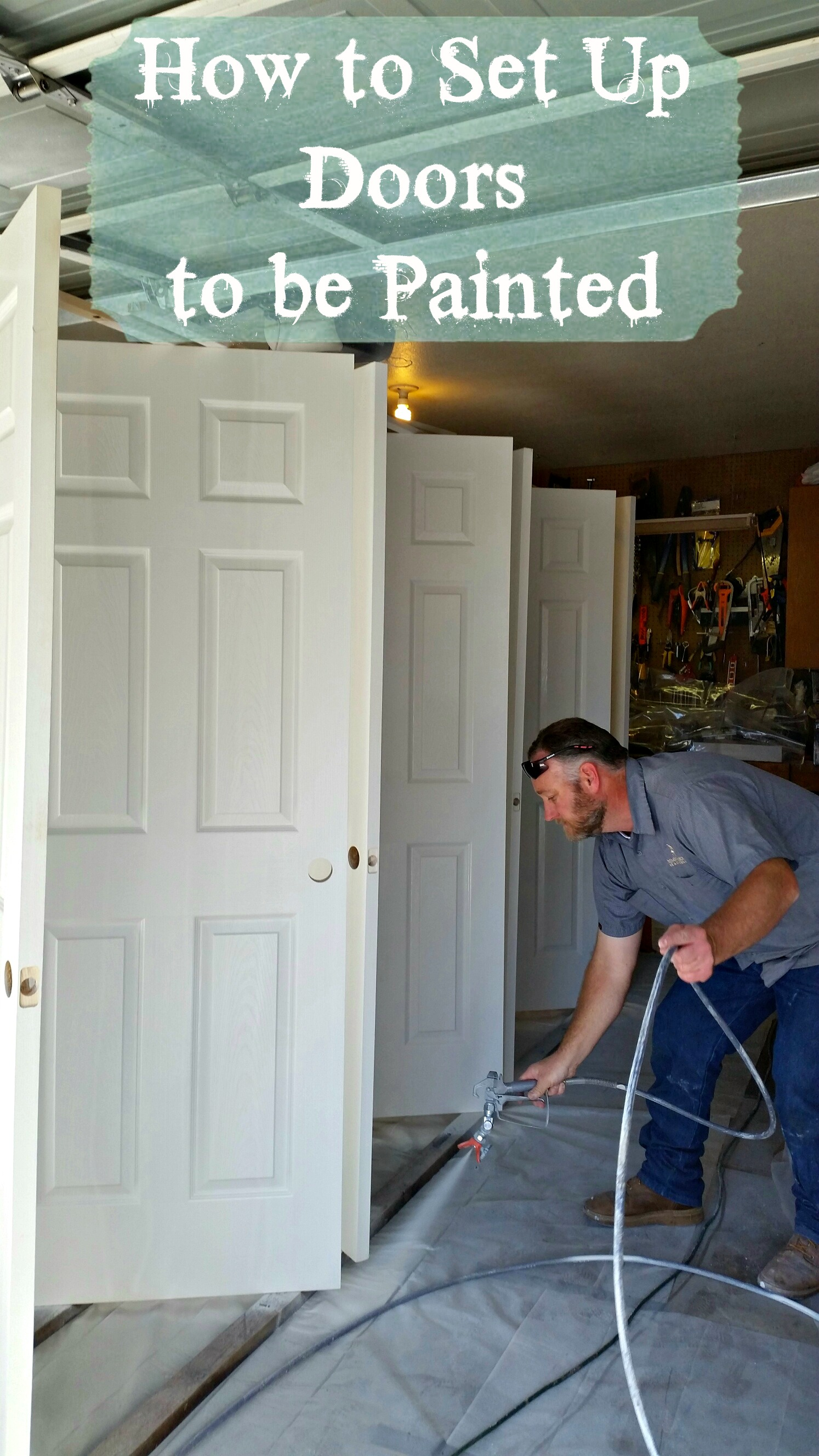How to set up doors to be painted she buys he builds for How to set up kitchen cabinets