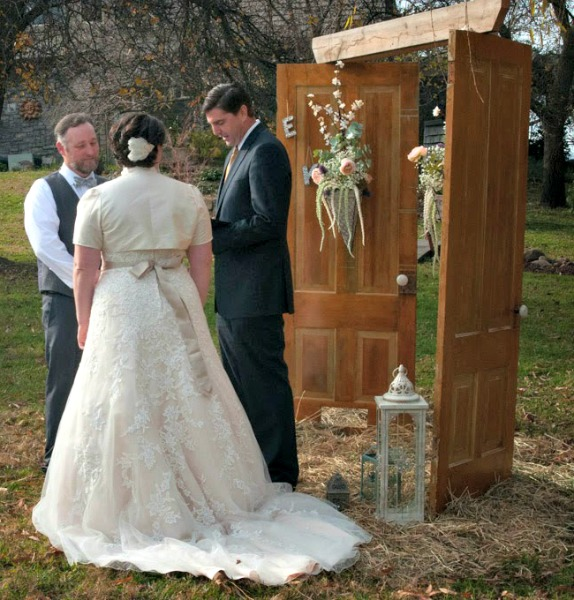 Wedding Ceremony & Repurposed Old Doors: Vintage Wedding Arch - She Buys He Builds